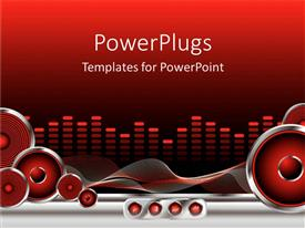 PowerPlugs: PowerPoint template with red and black equalizer with speakers, sound waves and rewind, fast forward, play and stop buttons