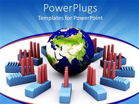 PowerPlugs: PowerPoint template with red and blue colored toy industrial plants surrounding an earth globe