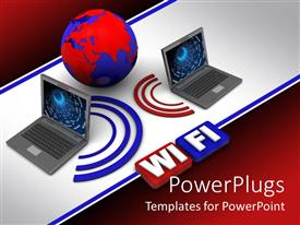 PowerPlugs: PowerPoint template with red and blue globe between two laptops
