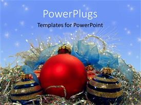 PowerPlugs: PowerPoint template with red, blue, and gold Christmas decorations