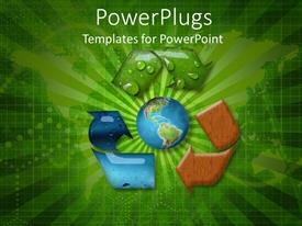 PowerPlugs: PowerPoint template with red, blue, green recycling symbol surrounding globe