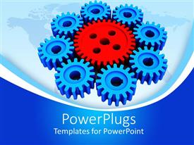 PowerPlugs: PowerPoint template with red and blue mechanical gears on world map, industry, manufacturing