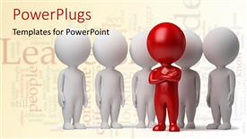 PowerPlugs: PowerPoint template with red business man standing in front of a group of white business people with leadership keywords in background