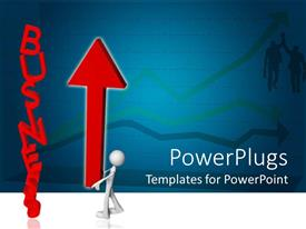 PowerPoint template displaying red business word and white figure holding huge red arrow pointing upside, two business man and three arrows