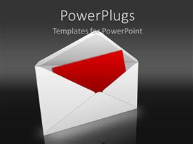 PowerPoint template displaying red card in white envelope on dark gray background