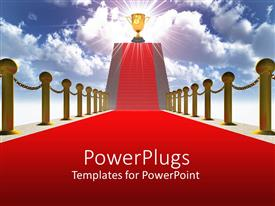 PowerPoint template displaying a red carpeted path and a glowing trophy at the top of stairs with blue sky as a metaphor