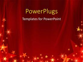 PowerPoint template displaying red celebration background with glowing stars and sparkles