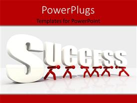 PowerPoint template displaying red characters carrying a text that spells out the word