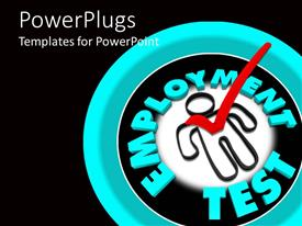 PowerPlugs: PowerPoint template with red check mark on figure with employment test words on blue and black background