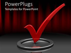 PowerPlugs: PowerPoint template with red check mark in silver circle with red and black background