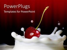 Amazing PPT theme consisting of red cherry on milk splash in dark red background