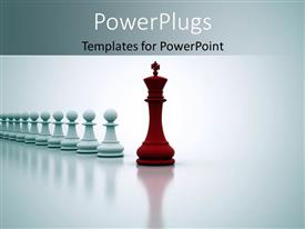 PowerPoint template displaying red chess king leading straight line of white pawns
