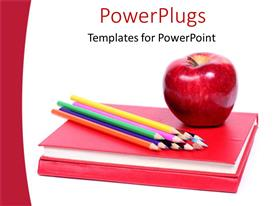 PowerPlugs: PowerPoint template with red closed book with colored pencils and an apple