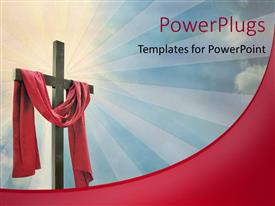 PowerPoint template displaying red cloth hanging on wooden cross with bright glow in cloudy sky