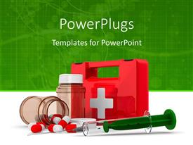 PowerPlugs: PowerPoint template with red color first aid box with medicines and syringe in foreground