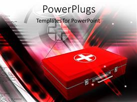 PowerPlugs: PowerPoint template with red color first aid box depicting medical concept with medical symbol