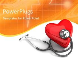 PowerPlugs: PowerPoint template with red color heart with stethoscope on orange and white background