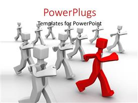 PowerPlugs: PowerPoint template with red colored 3D man leading team on white background
