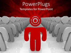 PowerPlugs: PowerPoint template with red colored 3D man with target head leads team of grey 3D men