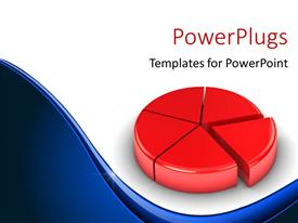 PowerPoint template displaying red colored 3D pie chart with clue curves