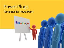 PowerPlugs: PowerPoint template with red colored 3D teacher lecturing blue men with education on white board