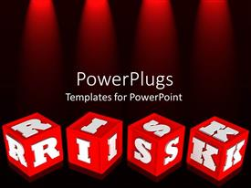 PowerPoint template displaying red colored alphabet learning blocks with white RISK text
