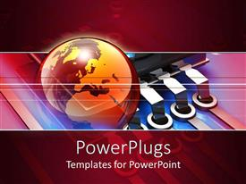 PowerPlugs: PowerPoint template with red colored earth globe on a wine colored background