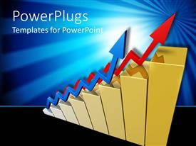 PowerPlugs: PowerPoint template with red colored gold bars with two zigzag blue and red arrows