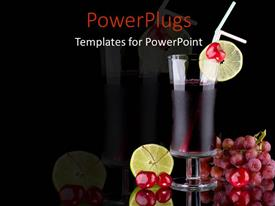 PowerPlugs: PowerPoint template with red colored juice in glass cup surrounded by lime and red grapes