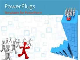 PowerPlugs: PowerPoint template with red colored leader leading group of white colored 3D men
