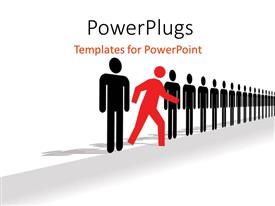 PowerPlugs: PowerPoint template with red colored man walks out of straight line of black men