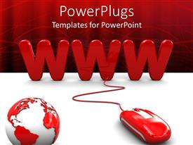 PowerPoint template displaying red colored mouse linked to a WWW text with an earth globe