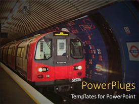 PowerPoint template displaying red colored moving train in a tunnel train station
