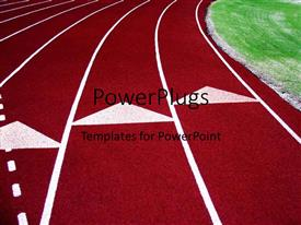 PPT theme having a red colored race track with white demarcation lines