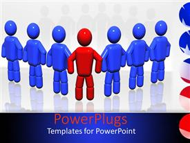 PowerPoint template displaying red colored robot leads six blue robots with reflection on surface