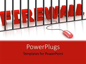 PowerPoint template displaying red computer mouse connected to 3D FIREWALL with silver bars