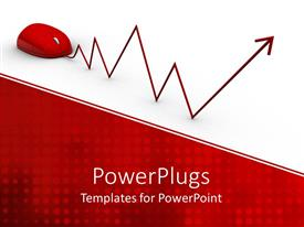 PowerPoint template displaying red computer mouse with red wave pointy diagram wire