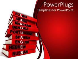 PowerPoint template displaying red cover language books for several languages forming the word languages written in white letters on white and red background