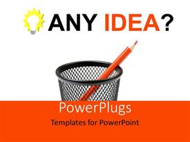 PowerPlugs: PowerPoint template with red crayon in pen holder over white and orange background