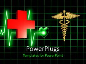 PowerPlugs: PowerPoint template with a red cross and a medical symbol on a cardio graph