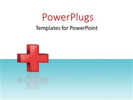 PowerPlugs: PowerPoint template with red cross with reflection on white and blue surface