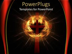 PowerPlugs: PowerPoint template with red cross surrounded by cloud of golden light
