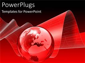 PowerPlugs: PowerPoint template with red crystal globe world Earth with red 3D wave background, black border