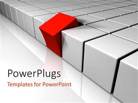 PowerPlugs: PowerPoint template with red cube tilted away from rows of white blocks