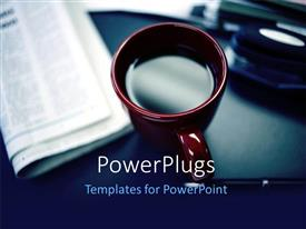 PowerPlugs: PowerPoint template with a red cup of coffee with a news paper beside it