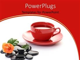 PowerPoint template displaying red cup of coffee and saucer with leaves on spa stones