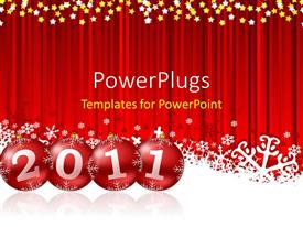 PowerPlugs: PowerPoint template with a red curtain with the new year celebration of 2011