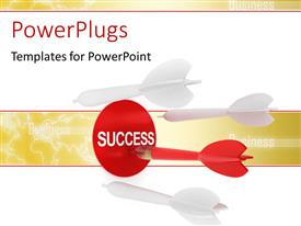 PowerPlugs: PowerPoint template with red dart hits success target with several white darts missing target