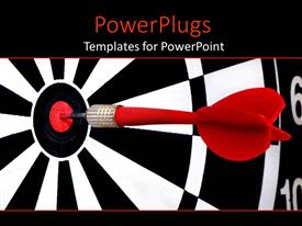 PowerPlugs: PowerPoint template with red dart hitting the middle of a dart board