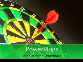 Colorful theme having a red dart hitting the middle of a dart board